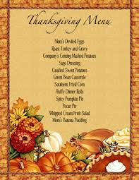 menu templates free thanksgiving thanksgiving dinner