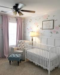 White Nursery Curtains by Floral Wallpaper Accent Wall In The Nursery So Whimsical And