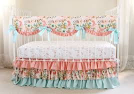 Floral Crib Bedding Sets Blush Pink Floral Crib Bedding Set Pink Coral And Aqua Baby