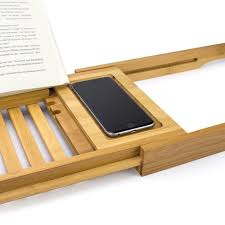bathtub caddy with book holder bellasentials bamboo bathtub caddy with extending sides and adjustab