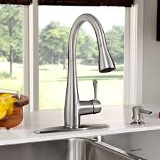 highest kitchen faucets olvera 1 handle high arc pull kitchen faucet with soap