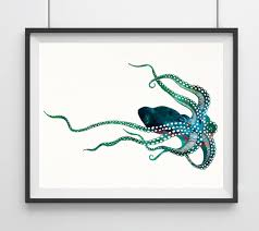 octopus watercolor print octopus art print watercolor art