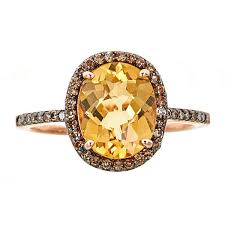 brown diamond engagement ring 14k gold with citrine and brown diamond ring free shipping