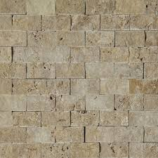 1 x 2 split face mosaic tile silver grey travertine honed wall