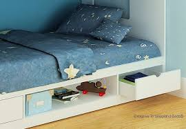 White Storage Bunk Beds Cameo Deluxe Staircase Bunk Bed In White - Small single bunk beds