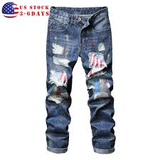 Ripped American Flag Men Ripped Patch Skinny Jeans American Flag Holes Straight Slim