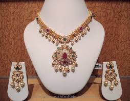 necklace designs with stones images Gold short stone necklace with earrings south india jewels jpg