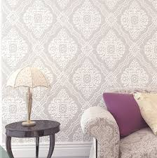 blooming wall non woven fabric trellis damask pattern 3d flocking