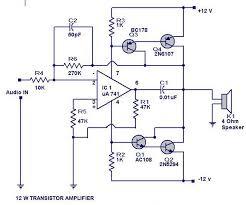 12 watts transistor amplifier circuit diagram electrical