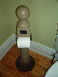 old newel post u0026 old floor lamp base made into toilet paper roll