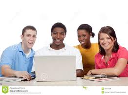 multicultural college students around a computer stock photo