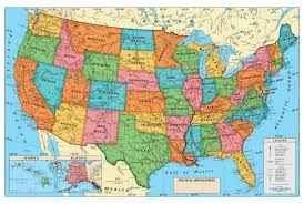 map us landforms map usa laminated major tourist attractions maps