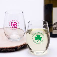 wedding favors personalized personalized stemless wine glass favors personalized