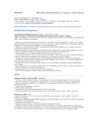 It Specialist Resume Examples Cover Letter Software Testing Resume Samples Software Testing