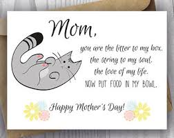 printable mothers day card unique mothers day card funny cat