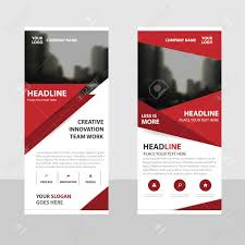 free printable vertical banner template red triangle business roll up banner flat design template abstract