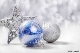 Silver And Blue Christmas Decorations Picture by Silver And Blue Christmas Ornaments On Glitter Bokeh Background