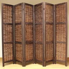 room dividers for home sentinel brown 6 panel wood frame wicker