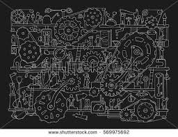 sketch people teamwork gears production doodle stock vector