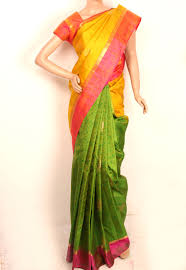 lemon yellow and parrot green colored pure silk saree 10030