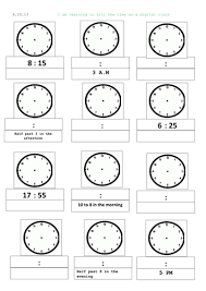 time worksheets converting analogue to digital time worksheets
