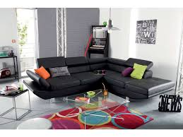 prix canape canapé d angle fixe droit 5 places loft coloris noir prix promo