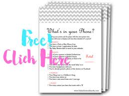 whats in your phone free baby shower games baby shower free