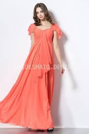 ruffled cap sleeve orange chiffon casual summer long bridesmaid