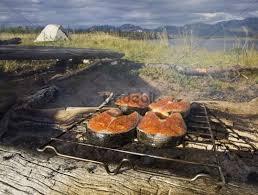 bbq tent salmon steak on a c grilling grill barbecue bbq tent b