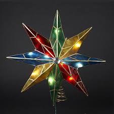 15 lighted capiz poinsettia tree topper clear