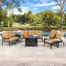 Patio Table With Fire Pit Built In by Rosedown 7 Piece Cast Aluminum Patio Fire Pit Seating Set W