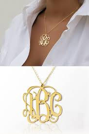 Gold Plated Monogram Necklace Lowest Price On 1 25 Inch Personalized Monogram Necklace