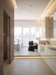 bathroom design open shower round white bathtube cream tiles