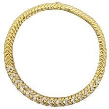 diamond necklace yellow gold images Massive bulgari spiga diamond gold necklace at 1stdibs jpeg