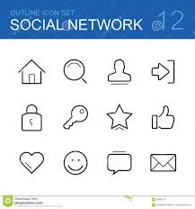 Home Design Social Network by Social Network Vector Outline Icon Set Stock Vector Image 58044272