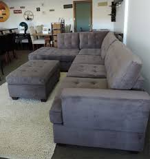 Right Sectional Sofa Charcoal Grey Waffle Suede Sectional Sofa Right Facing Chaise