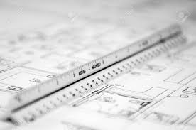 floor plan scales scale ruler and floor plan cad drawings for a project stock photo