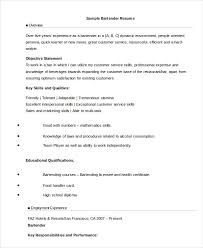 Sample Resume For Bartender by Bartender Resume 8 Free Sample Example Format Free