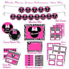 minnie mouse zebra pink polka dots printable birthday party