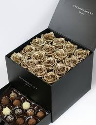 gold roses luxury black square box gold roses that last a year