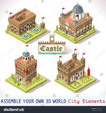 European Map Game by Isometric Castle Map Medieval Vector Set Stock Vector 339392510
