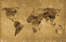 Antique World Map by Illustration Of Vintage World Map Over Grunge Background Stock