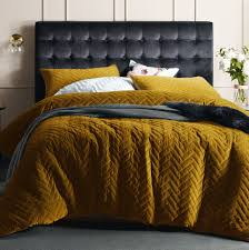 gold harmony chevron quilted velvet quilt cover set temple u0026 webster