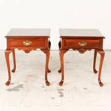 Cherry End Tables Pair Of Style Cherry End Tables Ebth