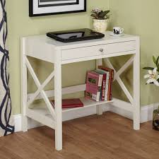 White Wood Computer Desk Furniture Soft White Wooden Writing Desk Large Bottom Open Shelf