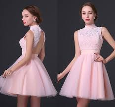 high neck short pink homecoming dresses for junior new fashion