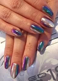 lisa frank af striped chrome nails neon duochrome green purple