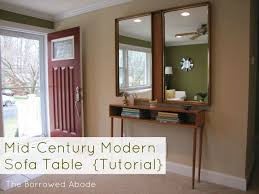 mid century modern entry table how to build a mid century style sofa table the borrowed abodethe