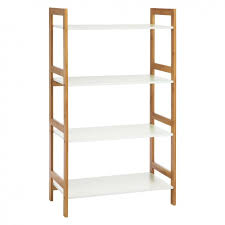 Bookcase Wide Drew Bamboo And White Lacquer Wide 4 Shelf Bookcase Buy Now At