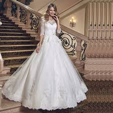 wedding dress design new design 3 4 sleeves lace wedding dress hot sale scoop neck